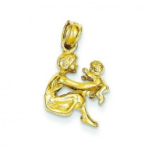 Mother Holding Child Pendant in 14k Yellow Gold