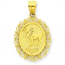 Aries Zodiac Oval Pendant in 14k Yellow Gold