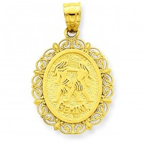 Gemini Zodiac Oval Pendant in 14k Yellow Gold