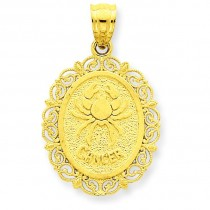 Cancer Zodiac Oval Pendant in 14k Yellow Gold