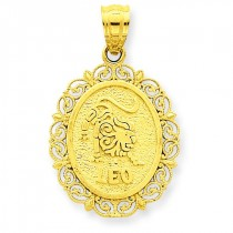 Leo Zodiac Oval Pendant in 14k Yellow Gold