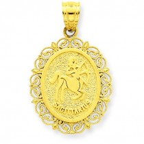 Sagittarius Zodiac Oval Pendant in 14k Yellow Gold