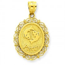 Pisces Zodiac Oval Pendant in 14k Yellow Gold