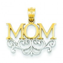Mom Pendant in 14k Yellow Gold