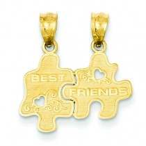 Best Friends Puzzle Pieces Break Apart Pendant in 14k Yellow Gold