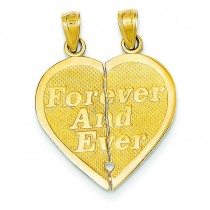 Forever Ever Break Apart Heart Pendant in 14k Yellow Gold
