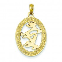 Chinese Happiness Symbol In Oval Frame Pendant in 14k Yellow Gold