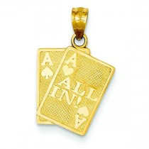 Ace Of Hearts Ace Of Spade All In Cards Pendant in 14k Yellow Gold