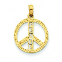 Peace Sign Letters Pendant in 14k Yellow Gold