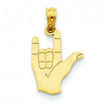 I Love You Hand Sign Language Pendant in 14k Yellow Gold