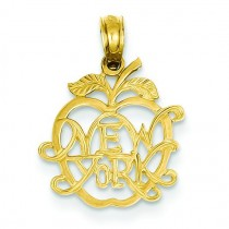 New York In Apple Pendant in 14k Yellow Gold