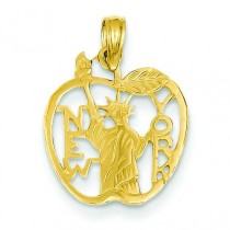 New York Statue Of Liberty In Apple Pendant in 14k Yellow Gold