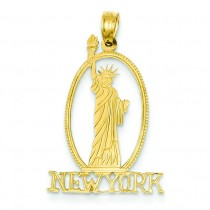 New York Statue Of Liberty Pendant in 14k Yellow Gold