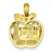 New York City Skyline In Apple Pendant in 14k Yellow Gold