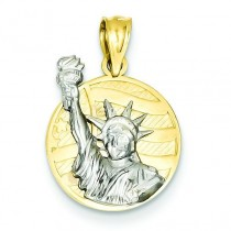 Small Lady Liberty On American Flag Disk Pendant in 14k Yellow Gold