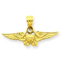 Us Airforce Emblem Pendant in 14k Yellow Gold