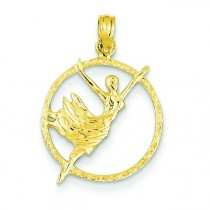 Dancer In Circle Frame Pendant in 14k Yellow Gold