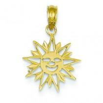 Cut Out Smiling Sunburst Pendant in 14k Yellow Gold
