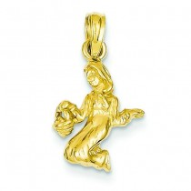 Virgo Zodiac Pendant in 14k Yellow Gold
