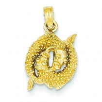 Pisces Zodiac Pendant in 14k Yellow Gold