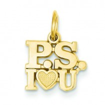PS I Love You Charm in 14k Yellow Gold