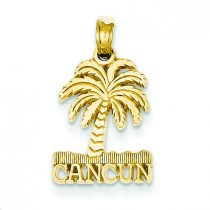 Cancun Palm Tree Pendant in 14k Yellow Gold