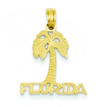 Florida Palm Tree Pendant in 14k Yellow Gold