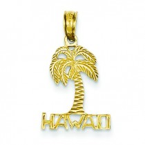 Hawaii Palm Tree Pendant in 14k Yellow Gold