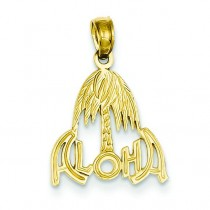 Aloha Palm Tree Pendant in 14k Yellow Gold