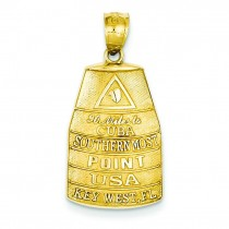 Southern Most Point USA Key West Pendant in 14k Yellow Gold