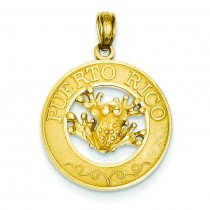Puerto Rico Frog Pendant in 14k Yellow Gold