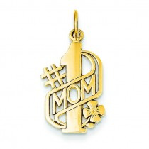 Number One Mom Charm in 14k Yellow Gold
