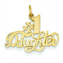 Number One Daughter Charm in 14k Yellow Gold