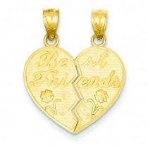 Best Friends Heart Break Apart Pendants in 14k Yellow Gold
