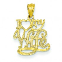 I Love My Wife Pendant in 14k Yellow Gold