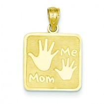 Mom Me Hands Pendant in 14k Yellow Gold