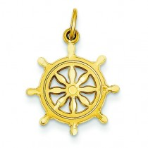 Ships Wheel Charm in 14k Yellow Gold