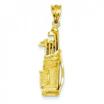 Golf Bag Charm in 14k Yellow Gold