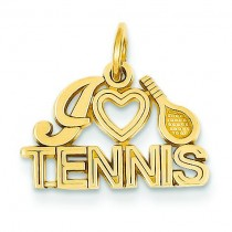 I Love Tennis Charm in 14k Yellow Gold