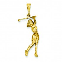 Female Golfer Pendant in 14k Yellow Gold