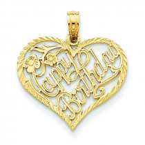 Talking Happy Birthday Heart Pendant in 14k Yellow Gold