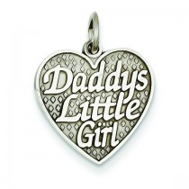 Daddy Little Girl In Heart Charm in 14k White Gold