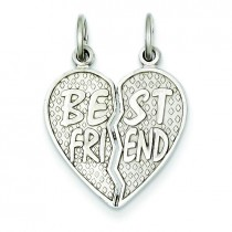 Best Friend Heart Pendant in 14k White Gold