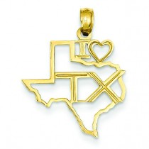 Texas State Pendant in 14k Yellow Gold