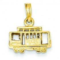 Trolley Car Pendant in 14k Yellow Gold