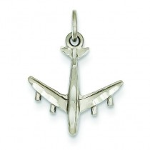 Airplane Charm in 14k White Gold