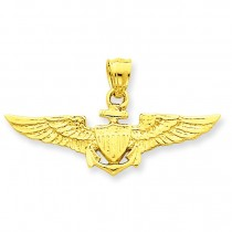 Large Us Naval Aviator Badge Pendant in 14k Yellow Gold