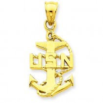 United States Navy Anchor Pendant in 14k Yellow Gold
