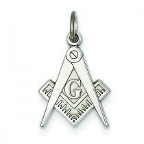 Masonic Charm in 14k White Gold
