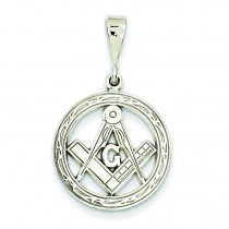 Flat Backed Small Masonic Charm in 14k White Gold